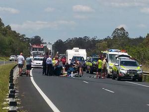 Warrego Hwy open to traffic after serious motorcycle crash