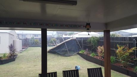 Strong winds picked up a trampoline and blew it into Melissa Heironymus' yard.