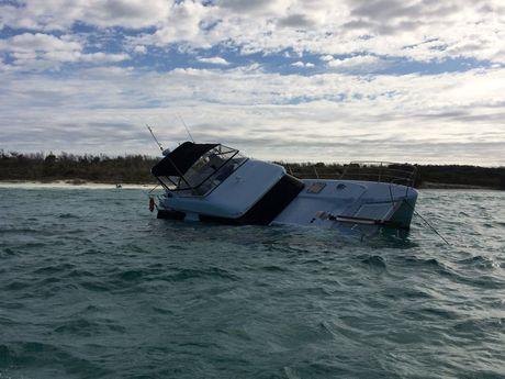 The $600,000 catamaran that sunk off Fraser Island.