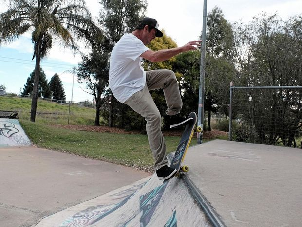 TIME FOR A THRILL: Brad Ehlers puts on some moves at the Chinchilla Skate Park. Mr Ehlers is currently gathering signatures to get the park refurbished.