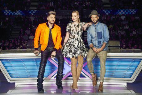 The X Factor judges Adam Lambert, Iggy Azalea and Guy Sebastian.