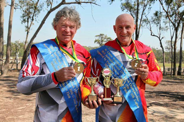 Dave Grainger (left) and Trevor Gaze won the Australian Dirt Track Championship in Newcastle recently.