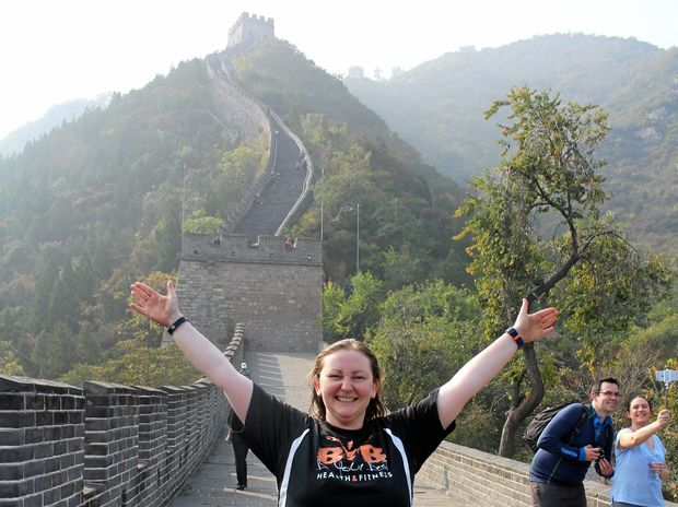 KICKING GOALS: Toowoomba woman Sarah Michel on the Great Wall of China last week.