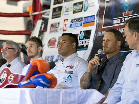 Jamie Hilt (with microphone) during today's fight-night media conference with (from left) John Geiger, Steve Spark, Herman Ene-Purcell and Nick Barker.