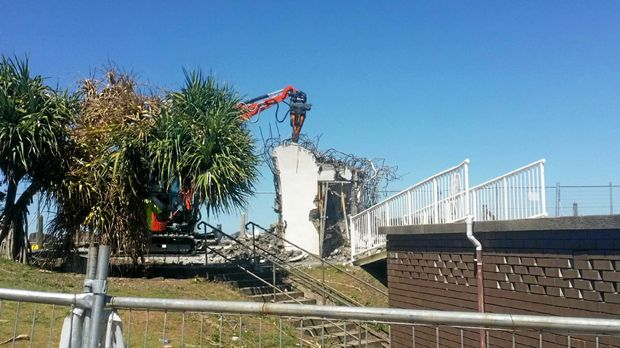 The demolition of the Marine Rescue tower at Ballina is almost finished.