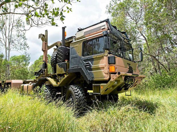 A newly delivered Rheinmetall MAN - HX77 vehicle in a bush setting near Wacol, Queensland.