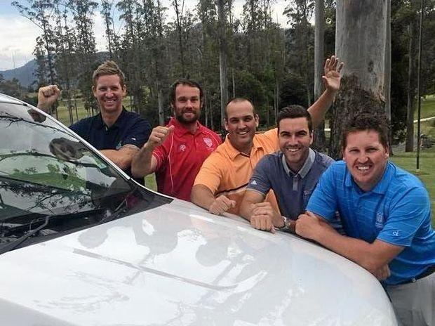 WINNERS: The Grafton Golf Club team of Trent Dickson, Scott Lloyd, Matt Katon and Ben Austin with Bonville pro Richie Gallichan (second from right).