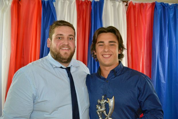 U18 coach Matt Grew with 2016 best Cowboys back Isaac Chaffey