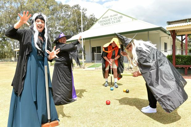 CREEPY CROQUET: From left, Jan Rees, Lorraine English, Greg Whymark and Kathy Vincent try on their costumes for the Bribie Island Croquet Club's 24-hour Halloween event on October 29.