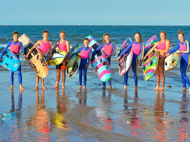 ALL ABOARD: Drew Bebendorf, Tanna Hayward-Gill, Maxi Grosskreutz, Taj Andrews, Jorja Grundy, Georgia Bell, Meg Larson and Mia Bell are all competing in the Northern Australian Championships from this Friday and the weekend at Mackay's Harbour Beach.