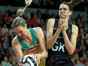 Caitlin Bassett of Australia and Anna Harrison of New Zealand during game three of the Constellation Cup netball series.