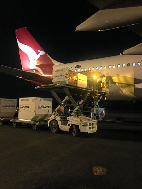 Freight being unloaded at Rockhampton Airport. New equipment makes this process faster than re-fueling.