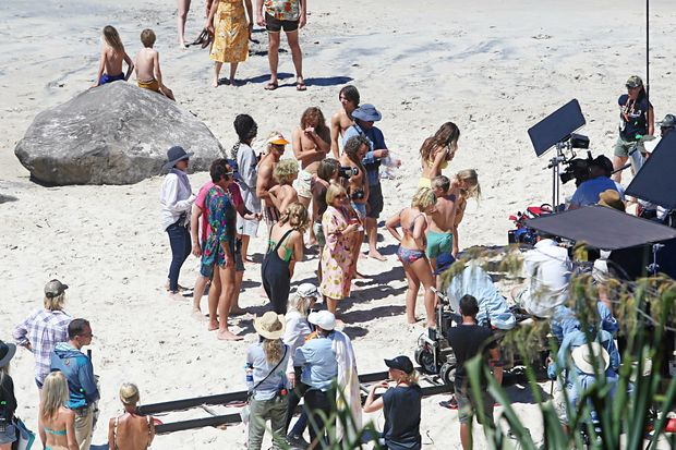 The cast of the new movie Flammable Children include Julian McMahon, Kylie Minogue, Guy Pearce, Asher Keddie on the beach at Coolangatta today.