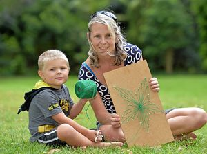STRONG WOMEN: Krystal and her son Mathias,3, create a work of art during last week's session.