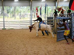 BUSTING OUT: Jeffery Clevens has a go at the rodeo,the academy has a rodeo day every Friday. Photo Katherine Morris / South Burnett Times