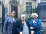 Outside Sydney Supreme Court for the trial of accused murderer Megan Jean Haines are (from left) Shannon Parkinson (granddaughter of suspected murder victim and St Andrew's aged care centre resident Marie Darragh), Janet Parkinson (sister) and Charli Darragh (daughter).