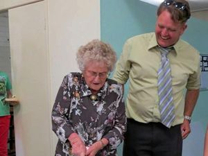 130TH HONOUR: Vennie Kenyon cuts Gympie Church of Christ's celebratory cake along with current pastor Sam Bartlett. It was a labour of love for Vennie whose sister, the late Marcia Hopkins, cut the cake for the 125 celebrations.