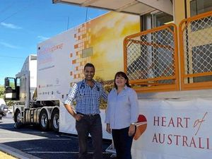 LIVES SAVED: Heart of Australia founder Dr Rolf Gomes with Tania Marshall from Arrow Energy.