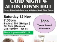 Enjoy an old-fashioned card night at the lovely old Alton Downs Hall. All welcome!
