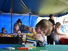 Frank Constable, 5, in the Junior Lego Building competitions at North Coast National.