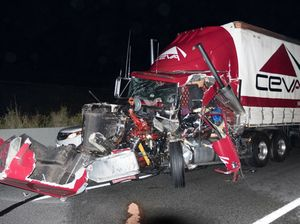 How did truck driver escape this without serious injury?