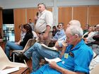 Property Rights Australia chairman and local landholder Dale Stiller asks a question of the CTSCo representatives at an information session in Wandoan on Tuesday afternoon.