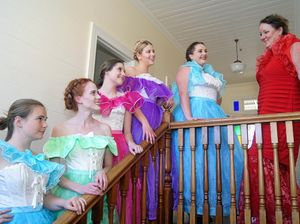 MORE THAN A CHICKEN RANCH: Pictured are Miss Mona (Jacquie McCalman, right)) with her girls (from left) Bronte Walsh, Abby McCalman, Jacinta Hunter, Emma Buckman and Iesha Williams in rehearsals for the Ballina Players' production of the Best Little Whorehouse in Texas.