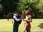 Bagpipes player Aaron Gray and didgeridoo player Chris Seden at the Global Grooves launch.
