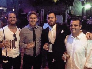 LIVELY: Dean James King, Matt Twoomey, Bill Crossley, Trent Elsom at the Whitsunday Raiders presentation night.