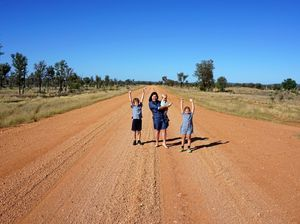 Rhiannon Finger with her three children Oscar, 9, Hugo, 1 and Imogen, 5, on the Alpha-Clermont road.