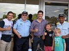Luke, Cody and William Cook and Jedd Tronc with Dave Tierney and Steve Grant from Dalby Police.