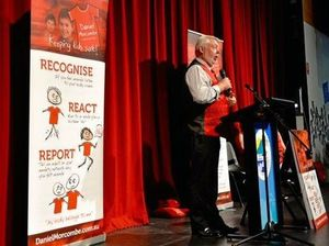 Bruce Morcombe addresses Mountain Creek students ahead of the Day for Daniel.