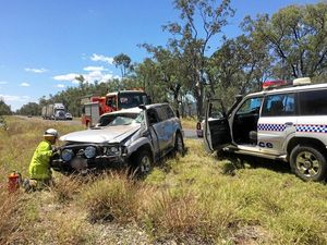 ROLL OVER: Damage from a single vehicle crash near Rolleston.