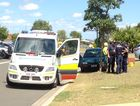 A man was taken to hospital after crashing into a tree at Eli Waters.
