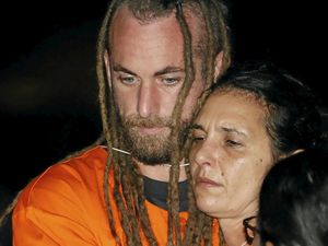 Australian national Sara Connor (R) and British national David Taylor (L) embrace during a reconstruction of the death of a police officer at Kuta beach in Bali, Indonesia, 31 August 2016. Australian Sara Connor and British national David Taylor, were arrested by Bali police, and are accused of murdering a local policeman on Kuta Beach. The body of police officer Wayan Sudarsa was found with deep wounds to his head and neck on Kuta beach on 17 August 2016. EPA/MADE NAGI