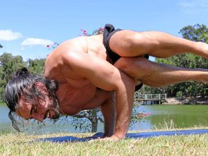 REGAN THE VEGAN: Regan incorporates yoga into his personal training sessions.