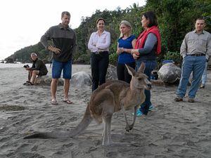 Cape Hillsborough Nature Tourist Park owner Ben Atherton, Premier Annastacia Palaszczuk, State Minister for Tourism Kate Jones and State Member for Mackay Julieanne Gilbert at Cape Hillsborough on Tuesday.