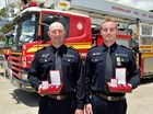 Award ceremony for Firefighters.Ben Christensen from the Cooroy Station and Steve Evans from the Gympie Station were given bravery awards.