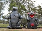 PICKET LINE: CFMEU mascot Scabby the Rat takes to the picket line at Camm Park, Middlemount.