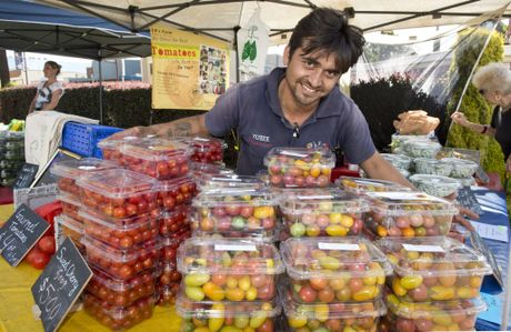 Yubee Khatri from UB's Farm at the My Local Feast Farmers' Market held at the Empire Theatre grounds.