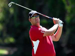 Australian golfer Ashley Hall plays a fairway shot during the second round of the Australian PGA at Royal Pines.