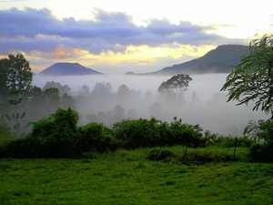 Mist rolls in over Bellbunya near Eumundi.