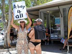 Cheeky protesters keep clothes mostly on in Noosa