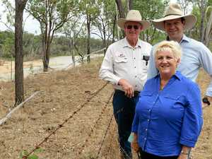 Farmer Larry Acton shows Senator Matt Canavan and Capricornia MP Michelle Landry the site for the proposed Rookwood Weir.