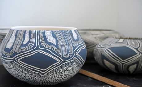 Ceramic works by Penny Evans in the artist's Lismore studio.