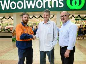 LIFE SAVERS: Ed Stubbs (centre) had a heart attack at the Inala Woolworths store and was helped by quick think store manager Marc Roper (right) and customer David Duprat (left) who administered CPR.
