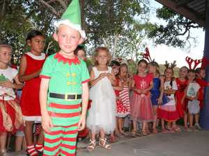 Harrison Lovekin of the Cannonvale State School prepares to take the stage at Carols by the Beach.