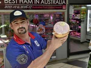BEST HAM: Butcher and smallgoods maker at Westridge Meats Kerry Brisbane with the award-winning ham in the artisan boneless category of the 2016 Australian Pork Limited Ham Awards.