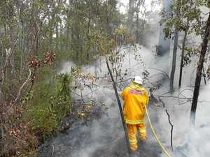 Lawrence RFS firefighter Darrell Binskin puts out a section of the the Fortis Creek bushfire that had crossed Coaldale Road north of Grafton on Friday, 28th October, 2016.Photo Bill North / Daily Examiner