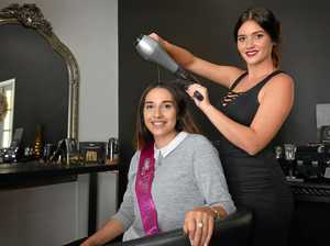 Miss Dairy showgirl entrant Karlee Dennien with managing hairdresser Sara Shadbolt from Hair by Hampton.